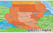 Political Shades Panoramic Map of Sudan