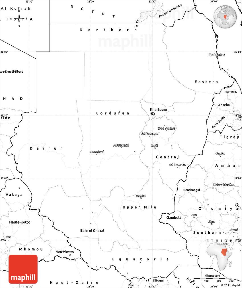 blank simple map of sudan