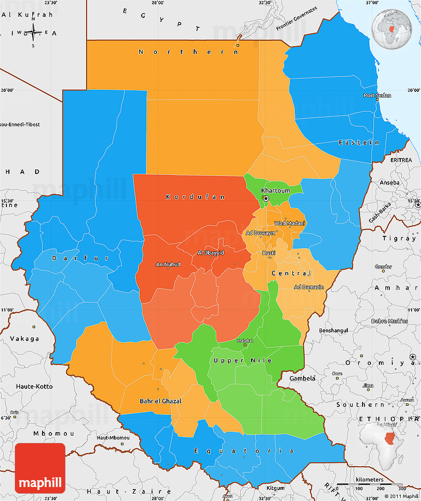 Political Simple Map of Sudan single color outside borders and labels