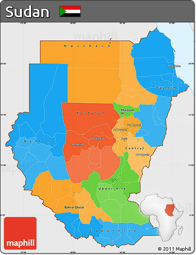Political Map Of Sudan.Free Political Simple Map Of Sudan Single Color Outside
