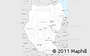 Silver Style Simple Map of Sudan