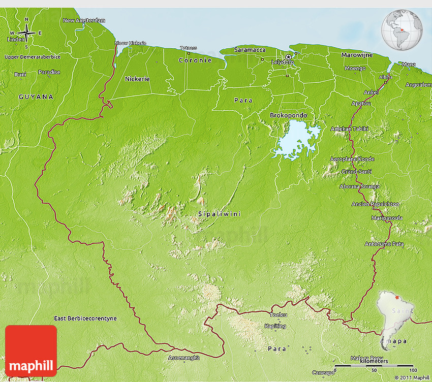 Physical 3D Map of Suriname