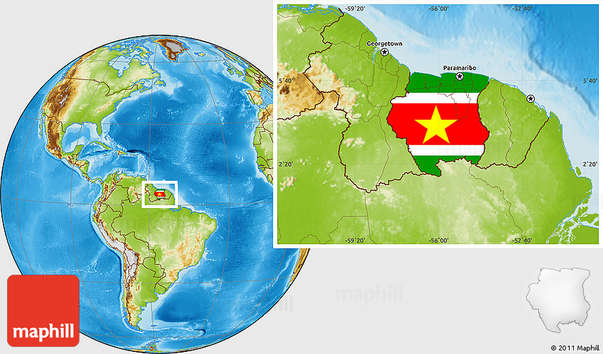 Flag Location Map Of Suriname Physical Outside - Suriname map