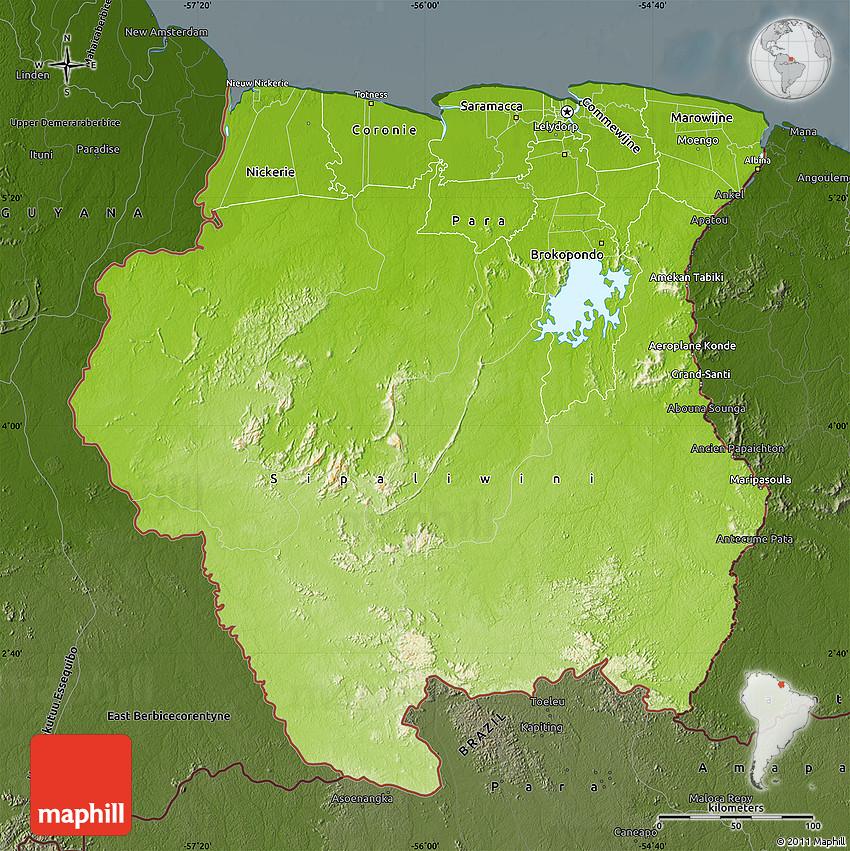 Physical Map of Suriname darken