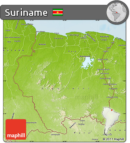 Free Physical Map of Suriname