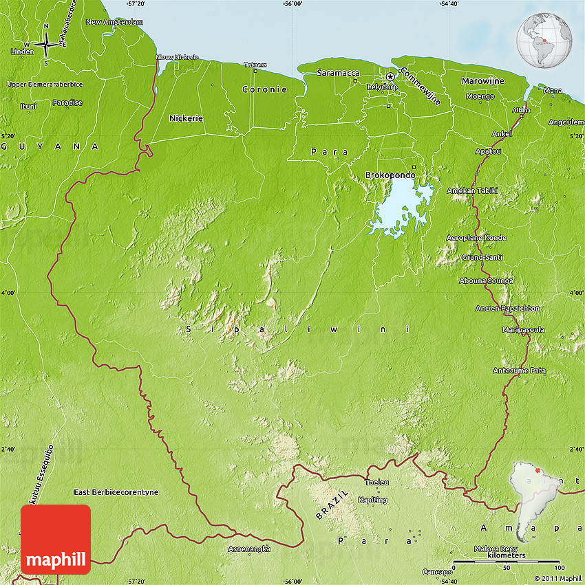 Physical Map Of Suriname - paramaribo map