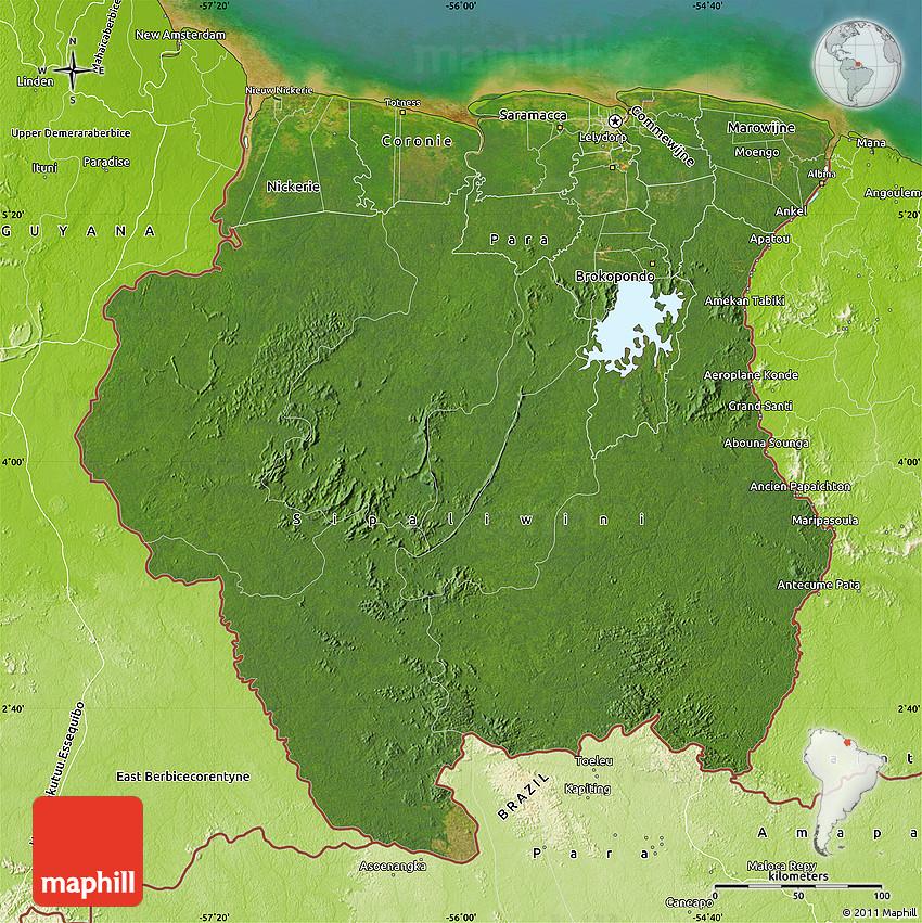 Satellite Map of Suriname physical outside satellite sea