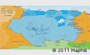 Political Shades Panoramic Map of Suriname