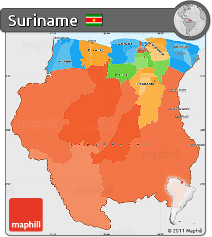 Free Political Simple Map of Suriname single color outside