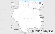 Silver Style Simple Map of Suriname