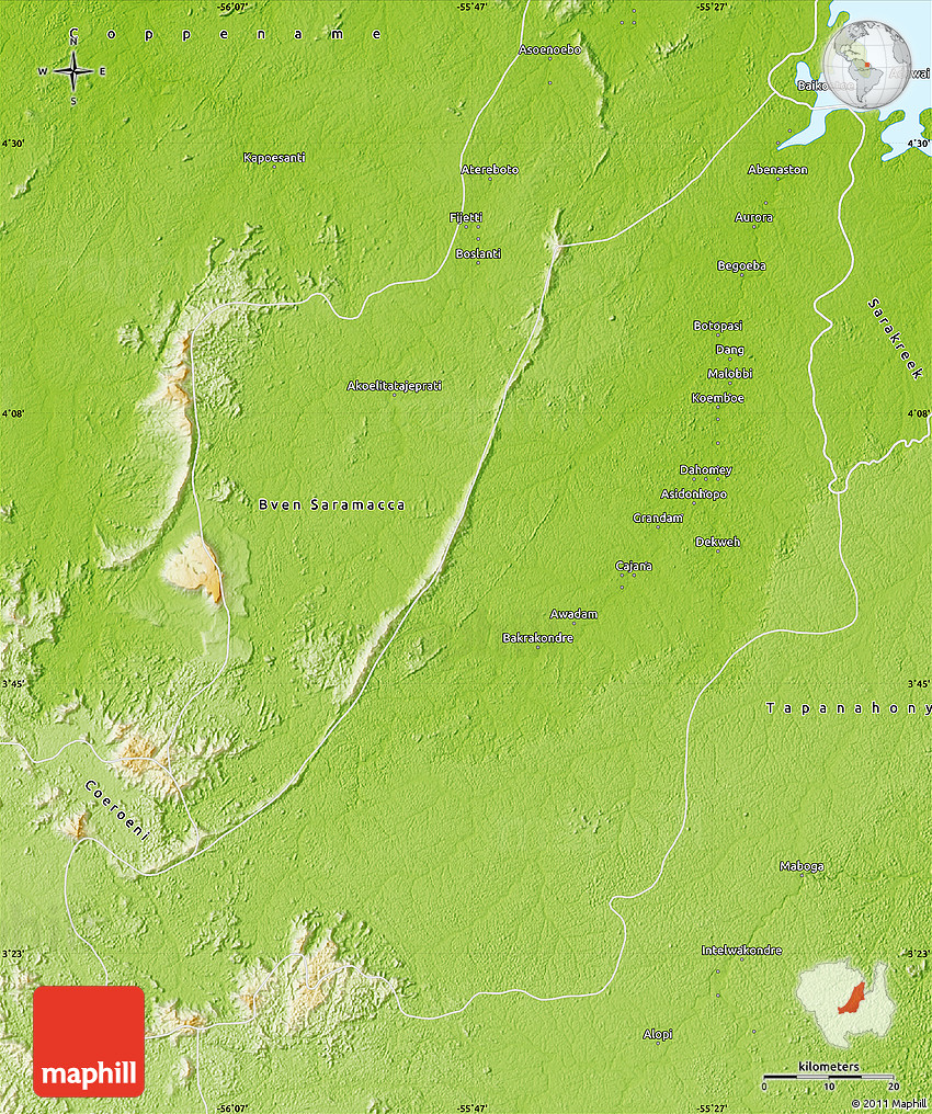 Physical Map of Boven Suriname