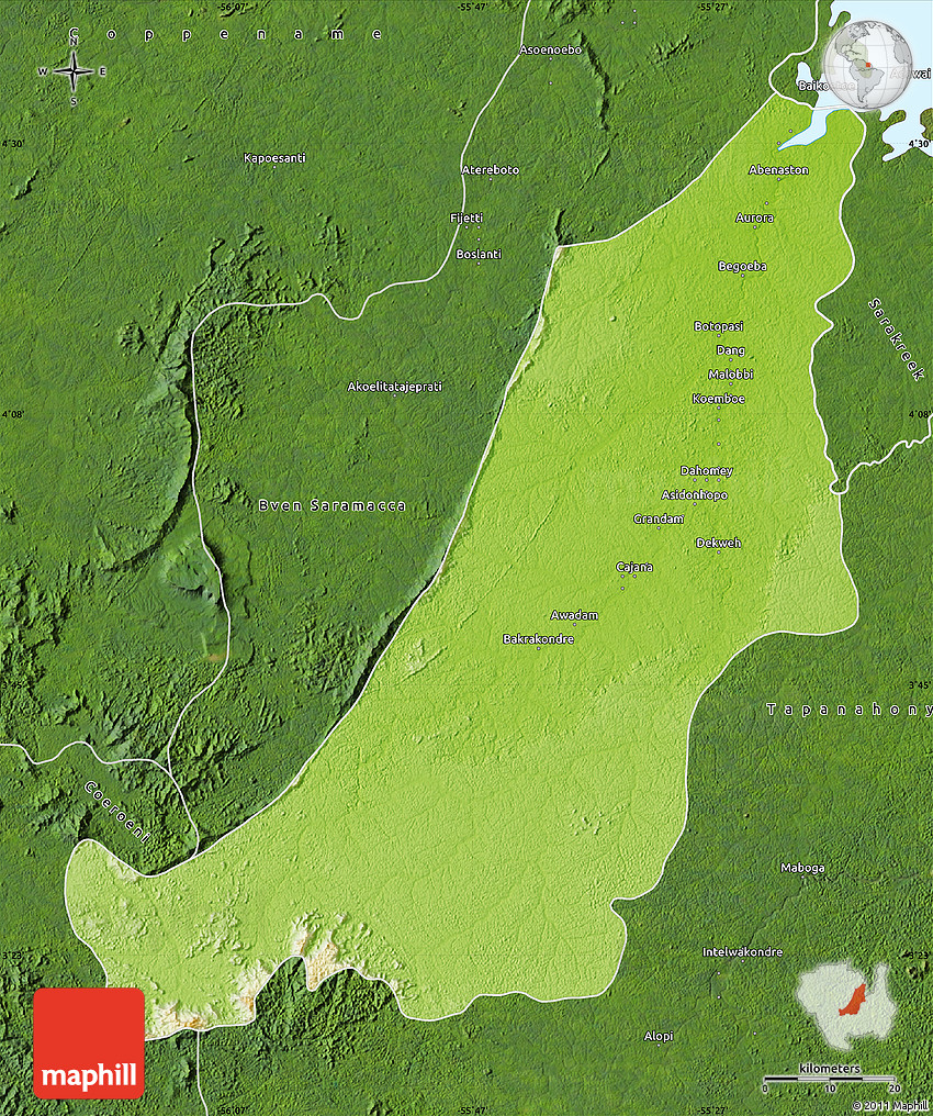 Physical Map of Boven Suriname satellite outside