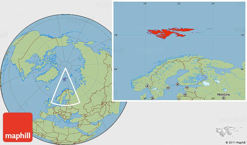 Savanna Style Location Map of Svalbard