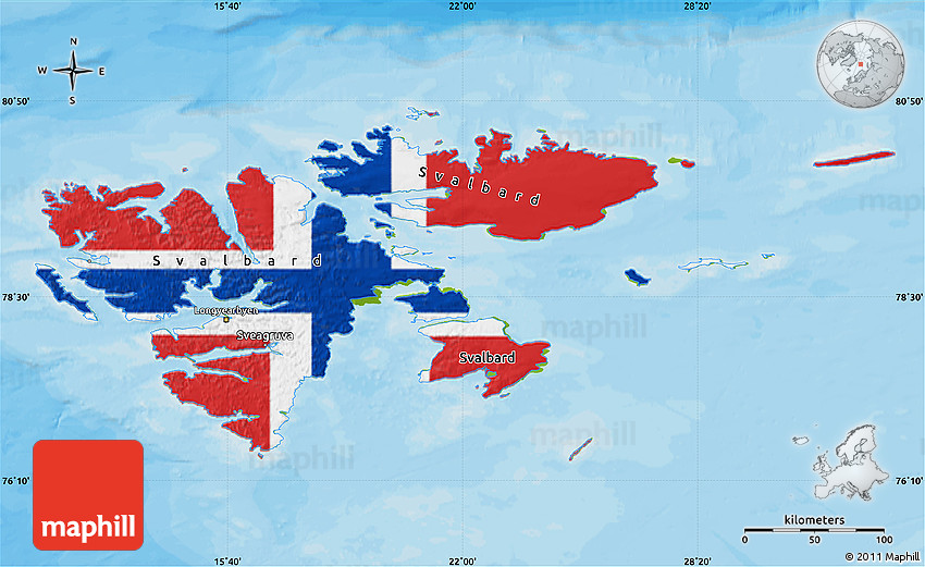 Flag Map of Svalbard physical outside bathymetry sea