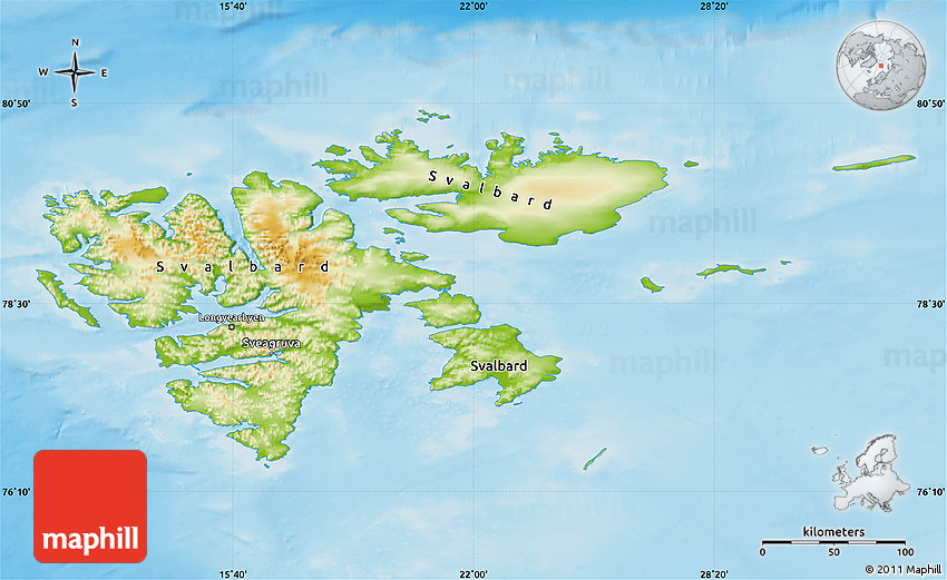 Physical Map of Svalbard