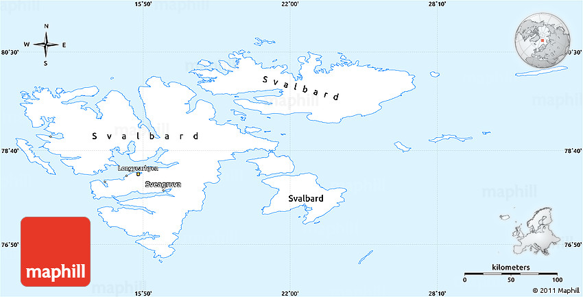 Classic Style Simple Map of Svalbard