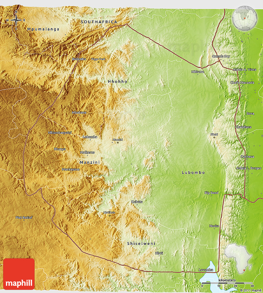 Physical 3D Map of Swaziland