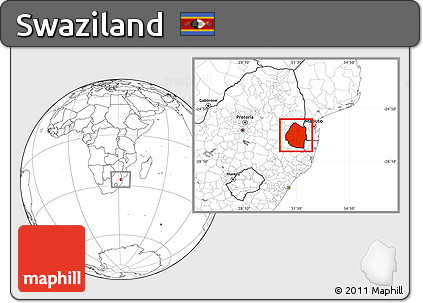 Free Blank Location Map of Swaziland