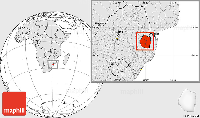 Blank Location Map of Swaziland, highlighted continent
