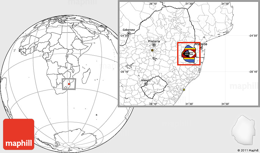 Flag Location Map of Swaziland blank outside