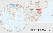 Gray Location Map of Swaziland, lighten
