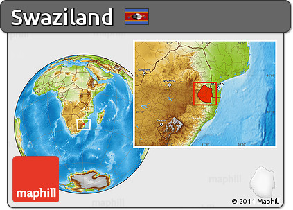 Physical Location Map of Swaziland