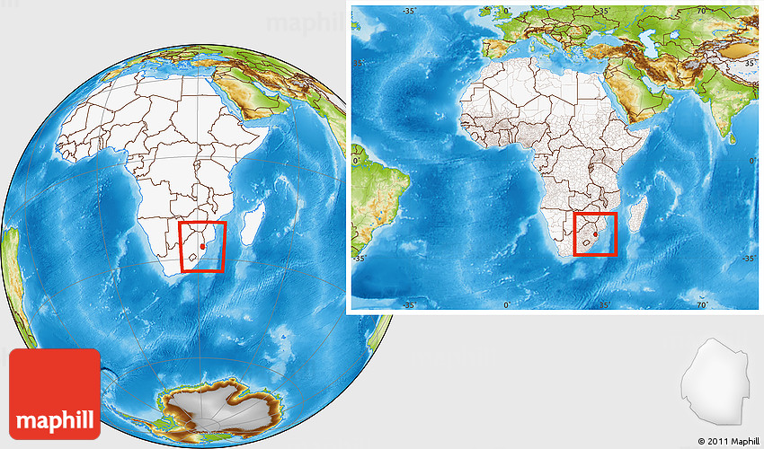 Physical Location Map of Swaziland, highlighted continent, within ...