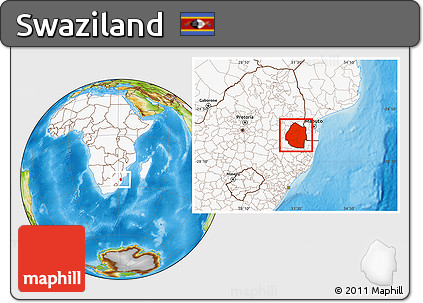 Free Physical Location Map of Swaziland highlighted continent