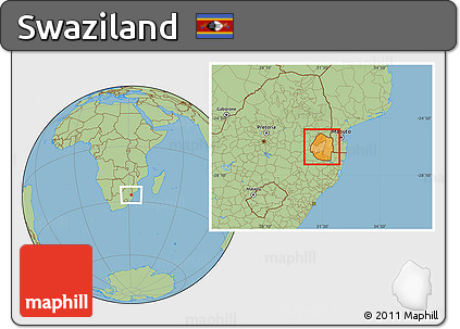 Free Political Location Map of Swaziland, savanna style outside
