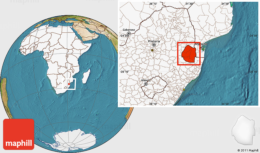 Satellite Location Map of Swaziland, highlighted continent