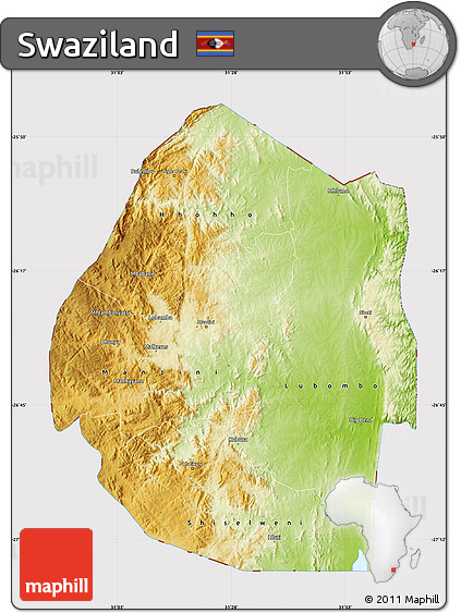 Free Physical Map of Swaziland cropped outside