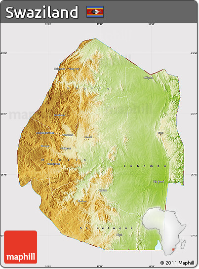 Free Physical Map Of Swaziland Cropped Outside - Swaziland map