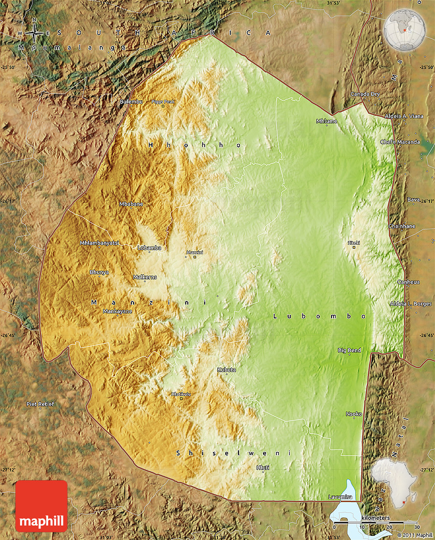 Physical Map of Swaziland satellite outside