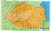 Political Shades Panoramic Map of Swaziland