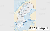 Classic Style 3D Map of Sweden, single color outside