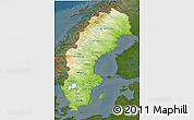 Physical 3D Map of Sweden, darken