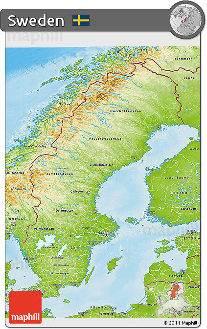 Free Physical D Map Of Sweden - Sweden map physical