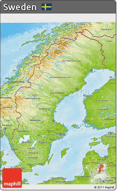 Free Physical D Map Of Sweden - Sweden map 3d