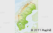 Physical 3D Map of Sweden, lighten