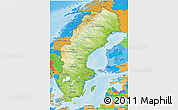 Physical 3D Map of Sweden, political outside, shaded relief sea