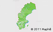 Political Shades 3D Map of Sweden, cropped outside