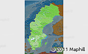 Political Shades 3D Map of Sweden, darken