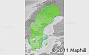 Political Shades 3D Map of Sweden, desaturated