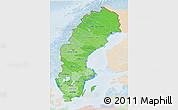 Political Shades 3D Map of Sweden, lighten