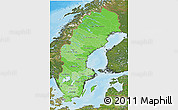 Political Shades 3D Map of Sweden, satellite outside, bathymetry sea