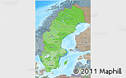 Political Shades 3D Map of Sweden, semi-desaturated, land only