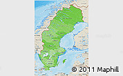 Political Shades 3D Map of Sweden, shaded relief outside, bathymetry sea