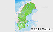 Political Shades 3D Map of Sweden, single color outside