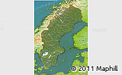 Satellite 3D Map of Sweden, physical outside, satellite sea