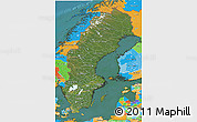 Satellite 3D Map of Sweden, political outside, satellite sea
